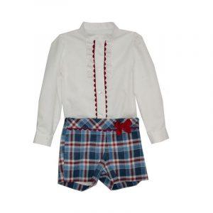 Conjunto niña shorts blusa Fiorella Azul 8 años