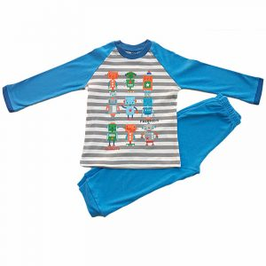 Pijama Infantil niño algodon Robots Azul 6 años