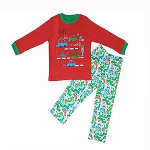 Pijama Niño Algodon Busy Day Rojo 5 años