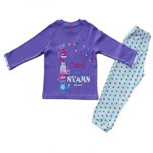 Pijama infantil niña algodon Stars Lila 6 años
