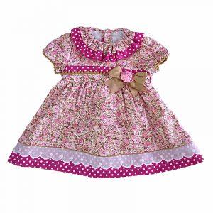 Vestido Niña Estampado Flores Rosa Palo 6 años