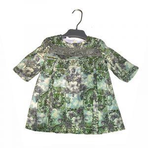 Vestido Niña Francesa con encaje Verde 6 años